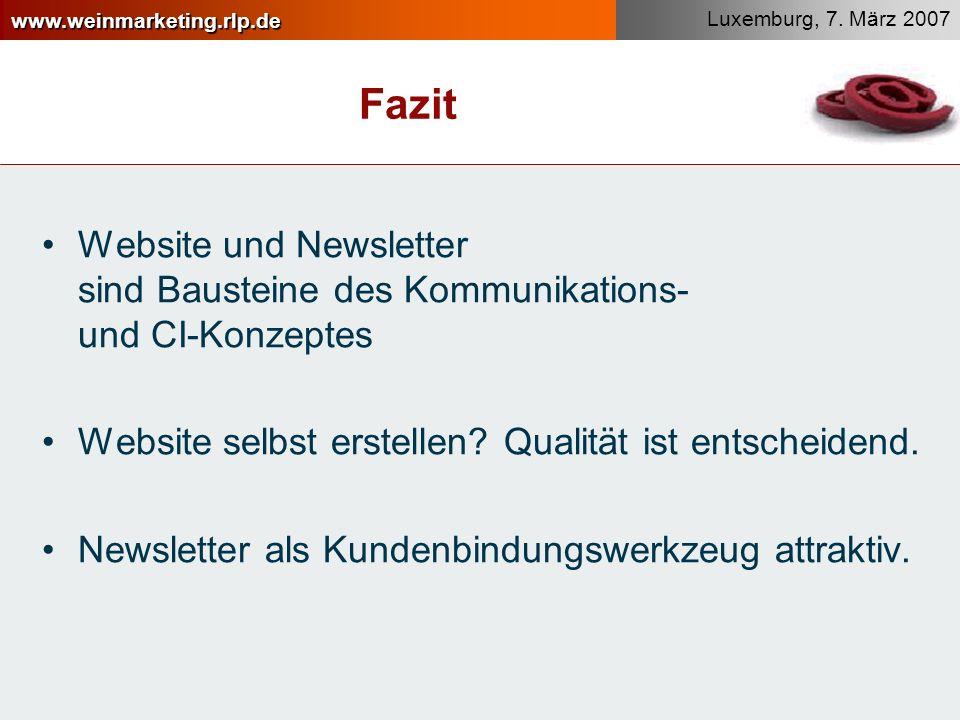 Fazit Website und Newsletter sind Bausteine des Kommunikations- und CI-Konzeptes. Website selbst erstellen Qualität ist entscheidend.