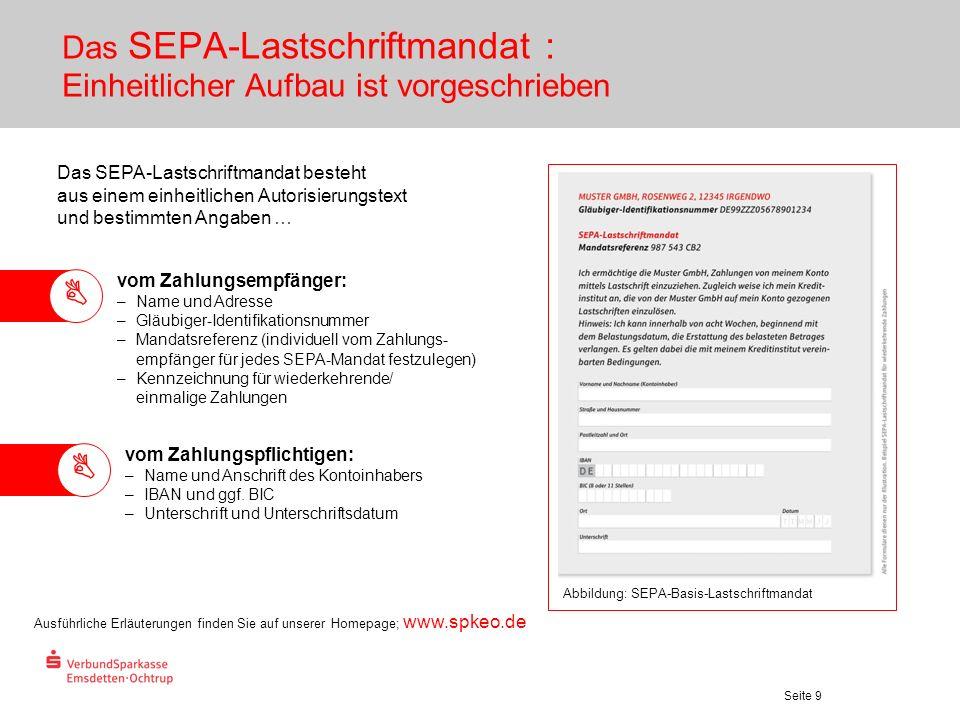 Das SEPA-Lastschriftmandat : Einheitlicher Aufbau ist vorgeschrieben