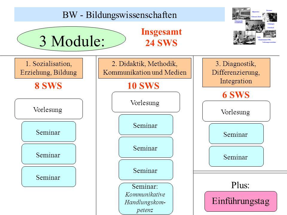 3 Module: BW - Bildungswissenschaften Insgesamt 24 SWS 8 SWS 10 SWS