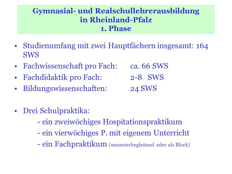 Gymnasial- und Realschullehrerausbildung in Rheinland-Pfalz 1. Phase