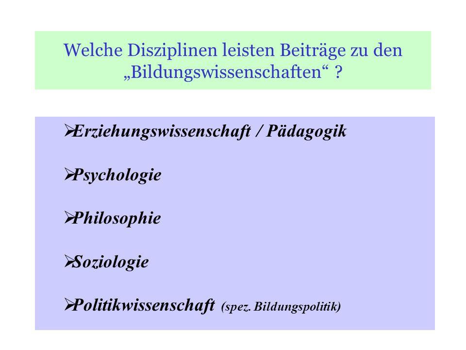 """Welche Disziplinen leisten Beiträge zu den """"Bildungswissenschaften"""