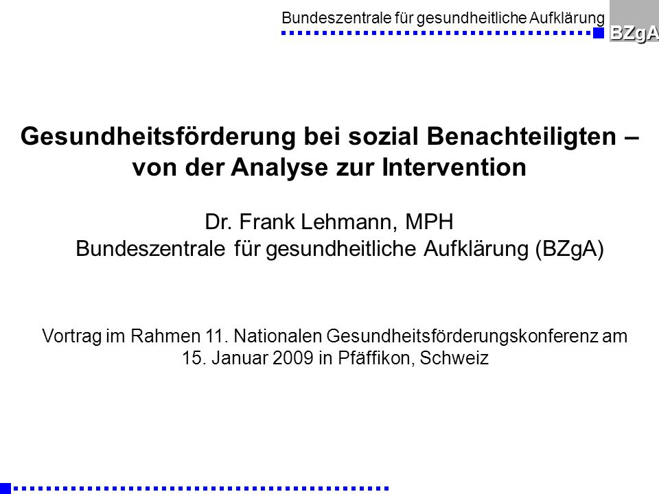 Gesundheitsförderung bei sozial Benachteiligten –