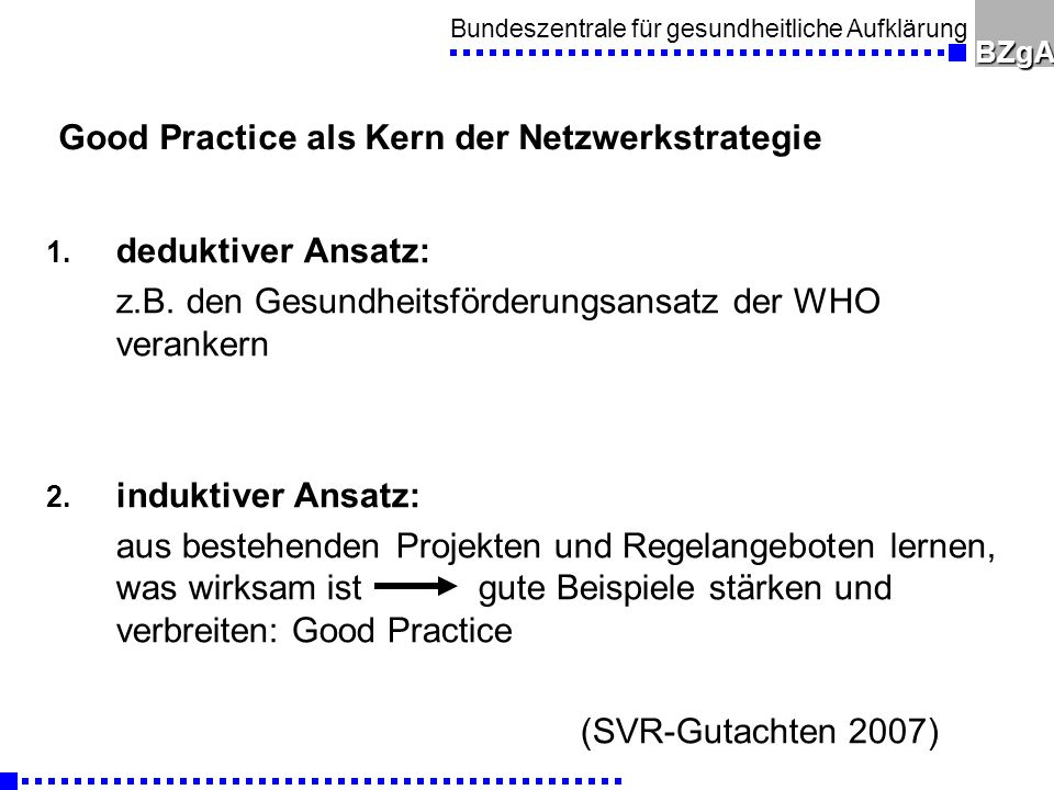 Good Practice als Kern der Netzwerkstrategie