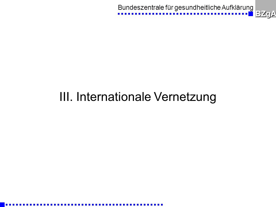 III. Internationale Vernetzung