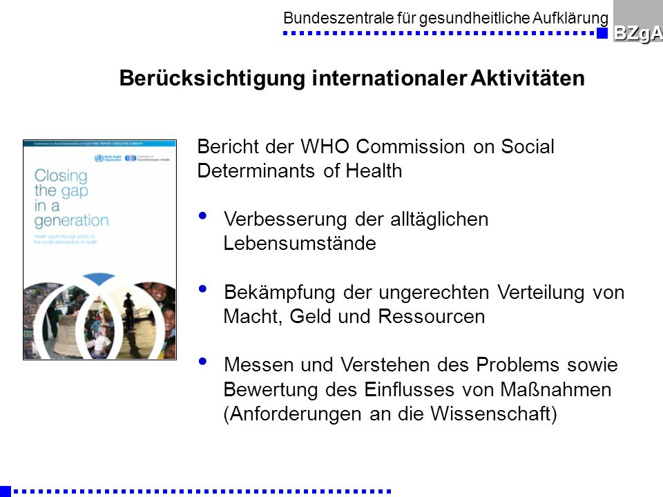 Berücksichtigung internationaler Aktivitäten