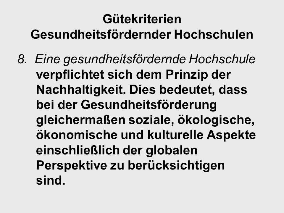 Gütekriterien Gesundheitsfördernder Hochschulen
