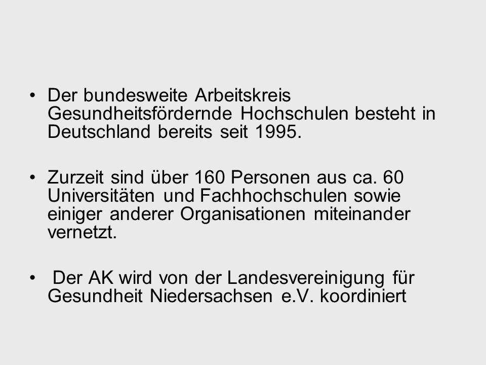 Der bundesweite Arbeitskreis Gesundheitsfördernde Hochschulen besteht in Deutschland bereits seit 1995.