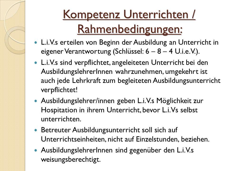 Kompetenz Unterrichten / Rahmenbedingungen: