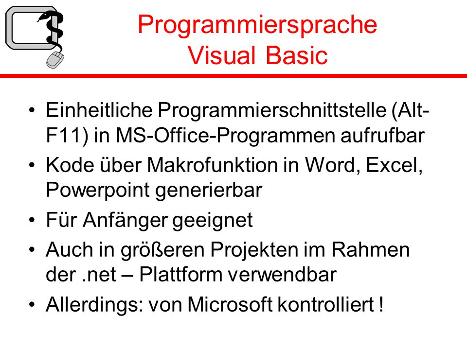 Programmiersprache Visual Basic
