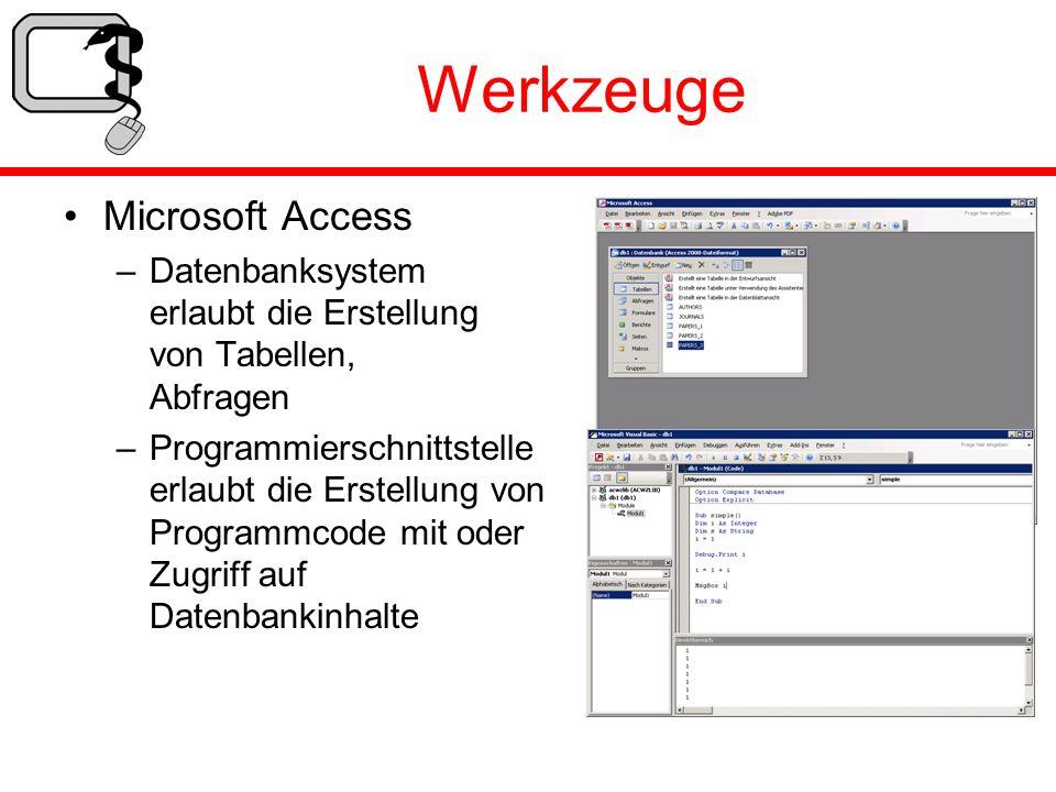 Werkzeuge Microsoft Access