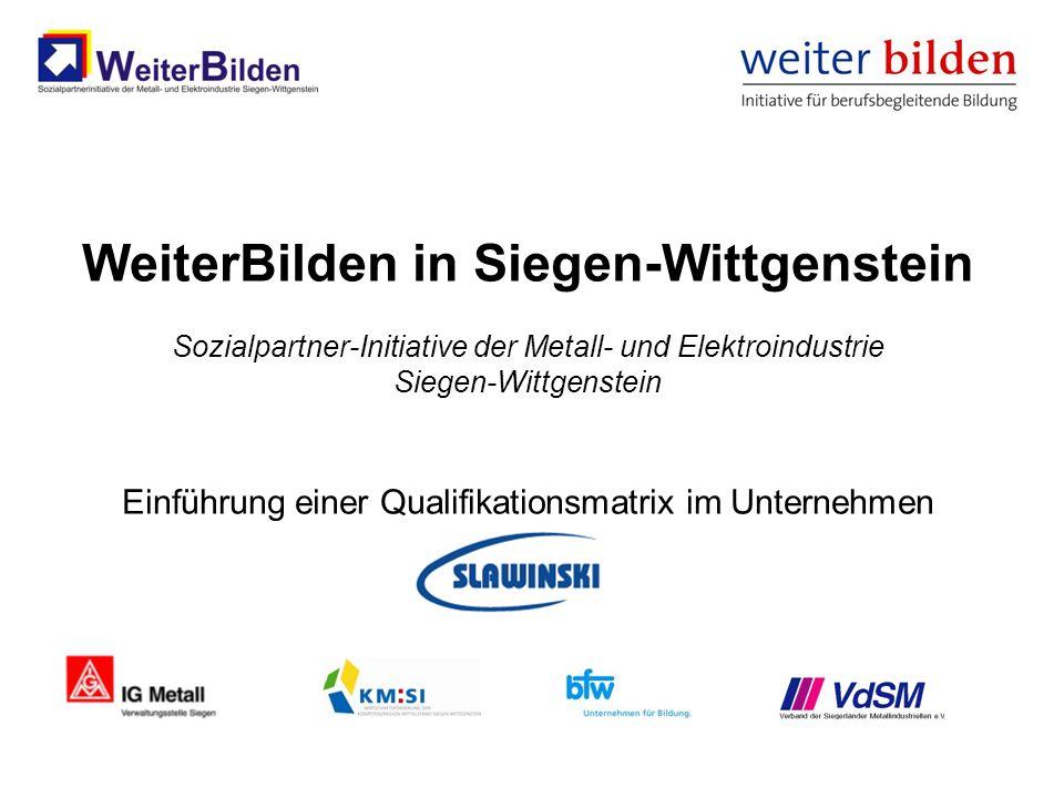 WeiterBilden in Siegen-Wittgenstein Sozialpartner-Initiative der Metall- und Elektroindustrie Siegen-Wittgenstein Einführung einer Qualifikationsmatrix im Unternehmen Slawinski
