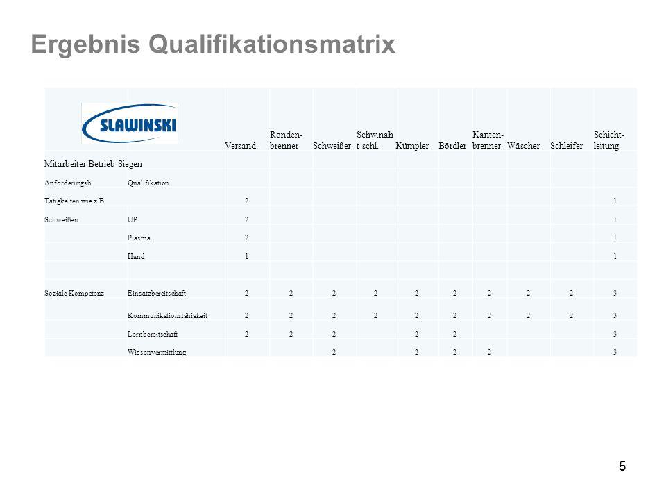 Ergebnis Qualifikationsmatrix