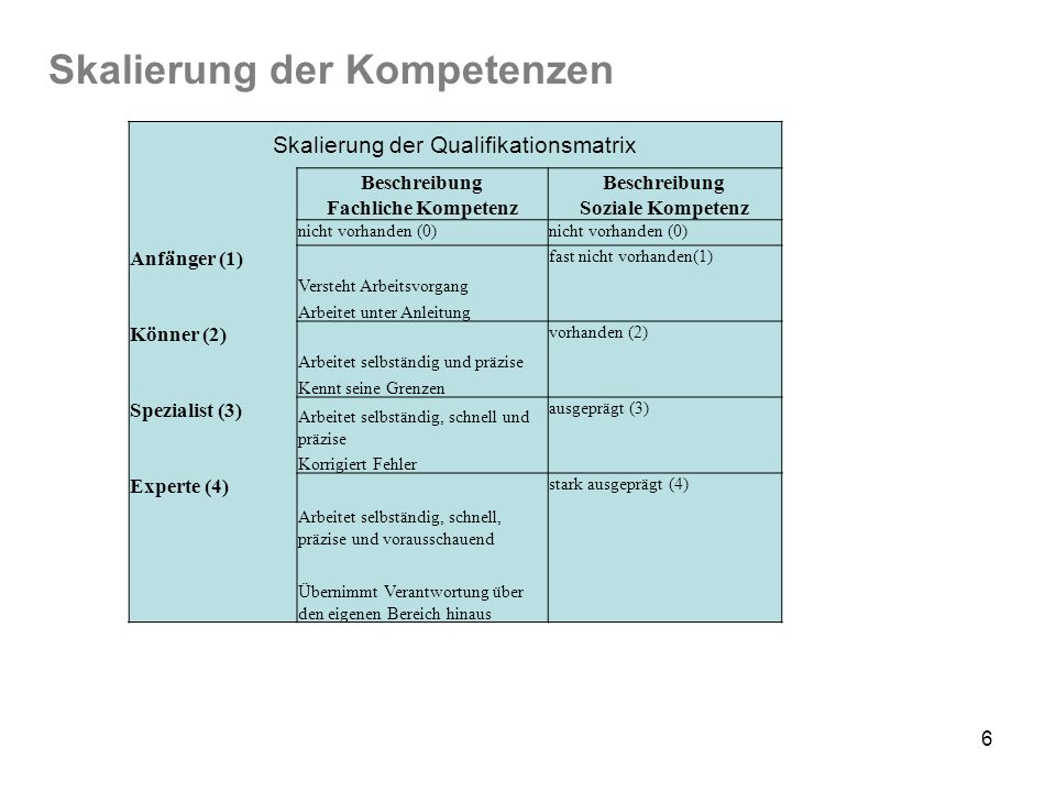 Skalierung der Qualifikationsmatrix