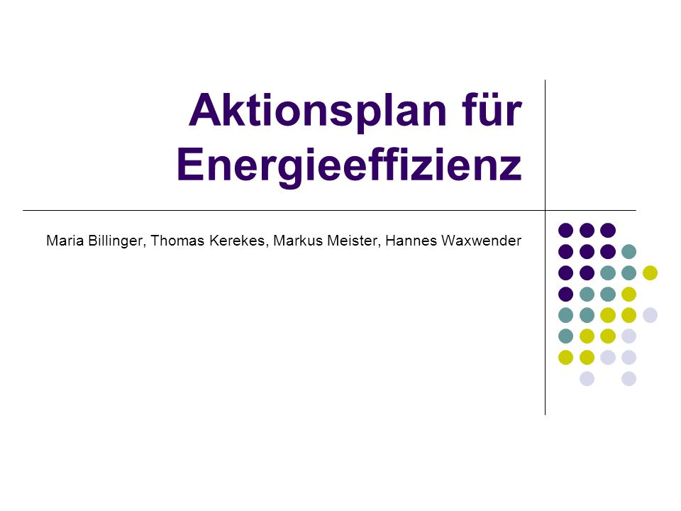 Aktionsplan für Energieeffizienz