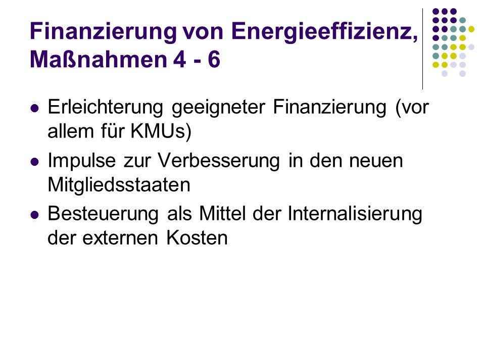Finanzierung von Energieeffizienz, Maßnahmen 4 - 6