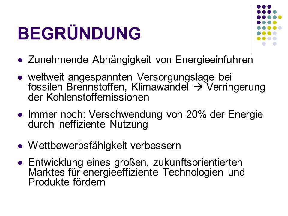 BEGRÜNDUNG Zunehmende Abhängigkeit von Energieeinfuhren