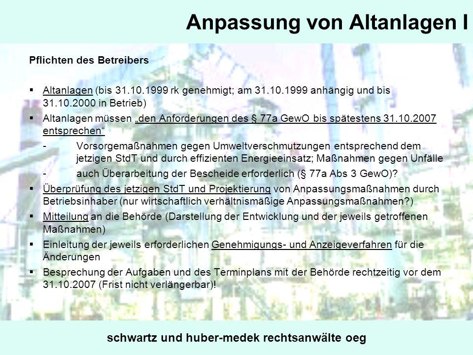 Anpassung von Altanlagen I