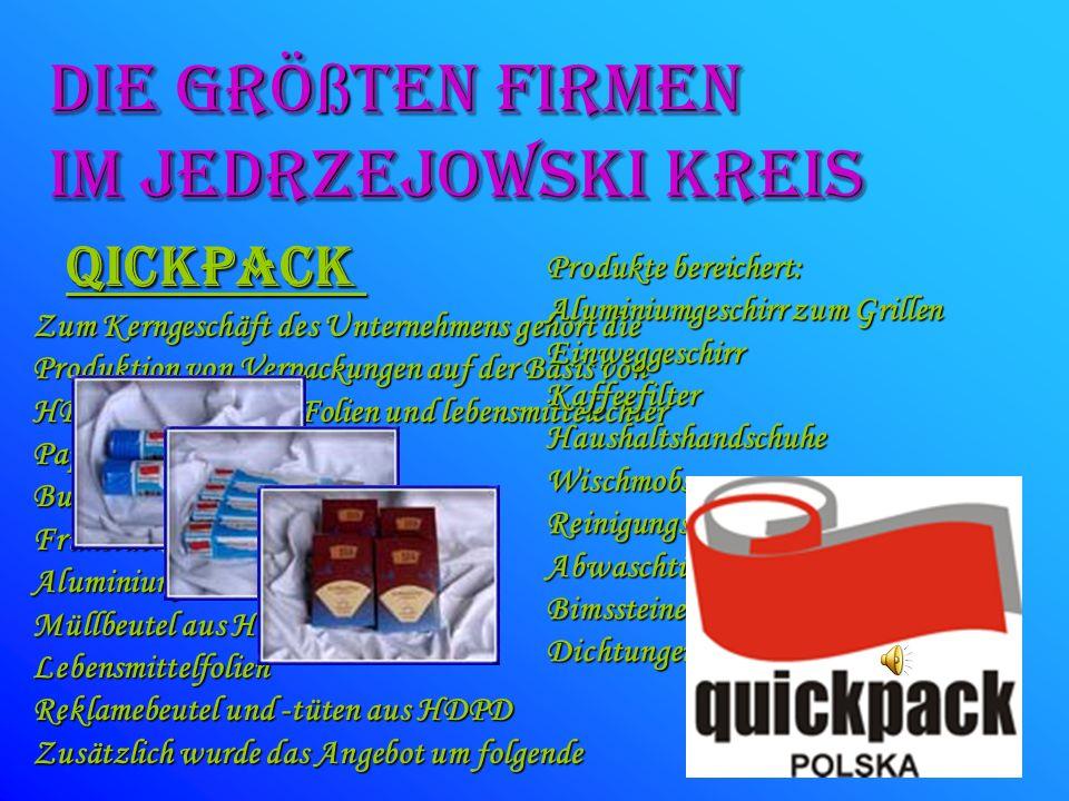 die GRÖßTEN FIRMEN Im JeDRZEJOWSKI kreis Qickpack Produkte bereichert: