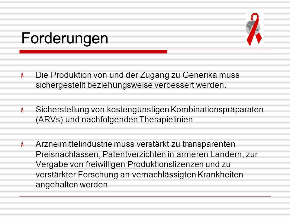 Forderungen Die Produktion von und der Zugang zu Generika muss sichergestellt beziehungsweise verbessert werden.