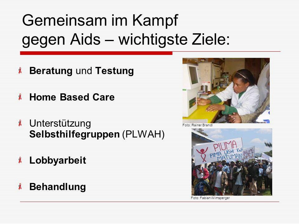 Gemeinsam im Kampf gegen Aids – wichtigste Ziele: