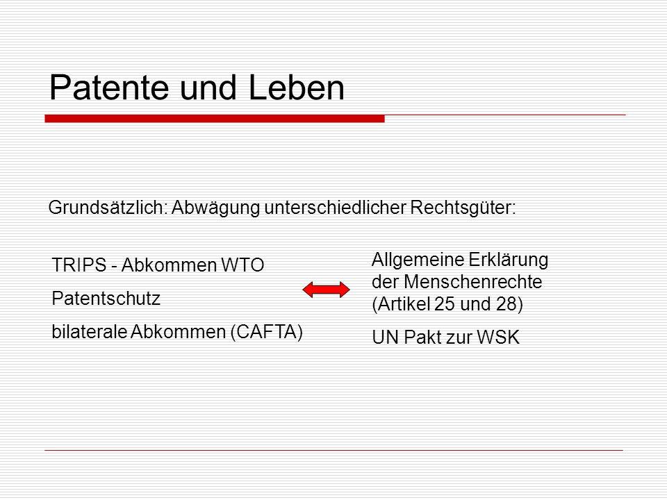 Patente und Leben Grundsätzlich: Abwägung unterschiedlicher Rechtsgüter: Allgemeine Erklärung der Menschenrechte (Artikel 25 und 28)