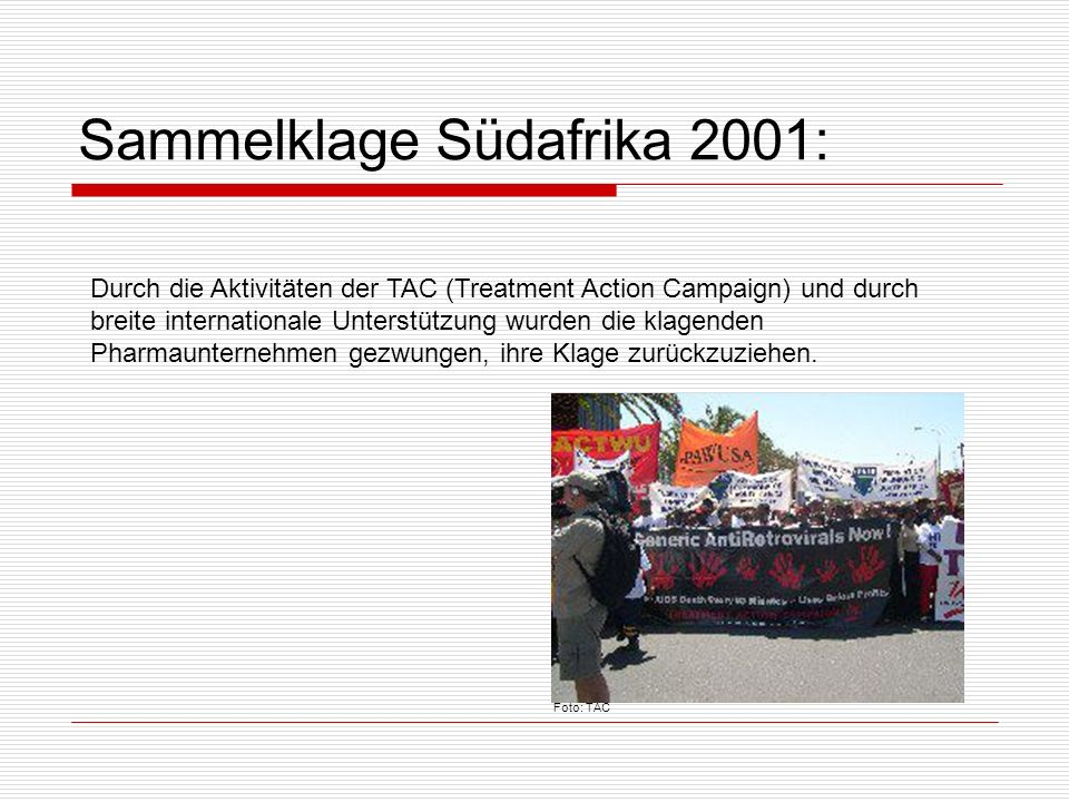 Sammelklage Südafrika 2001: