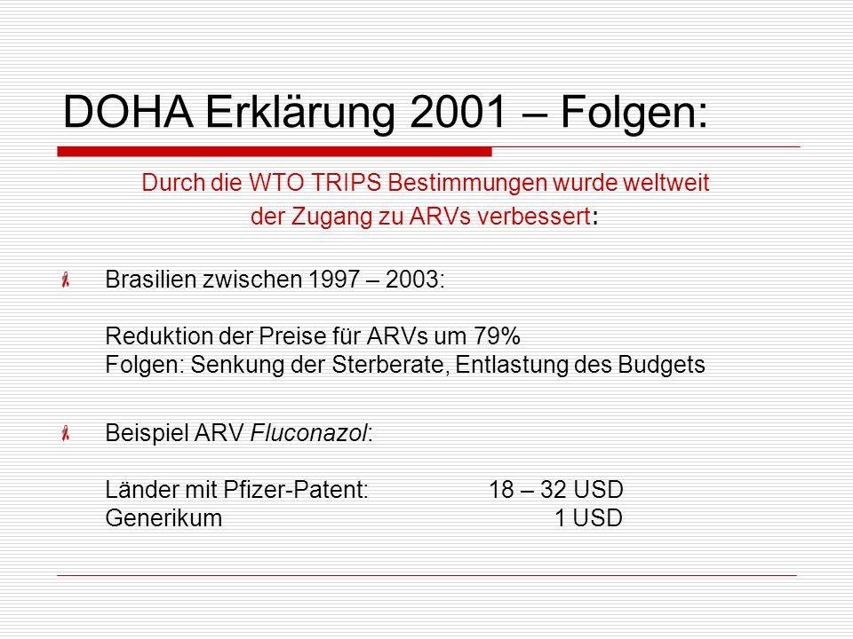 DOHA Erklärung 2001 – Folgen: