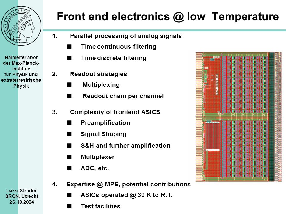 Front end electronics @ low Temperature