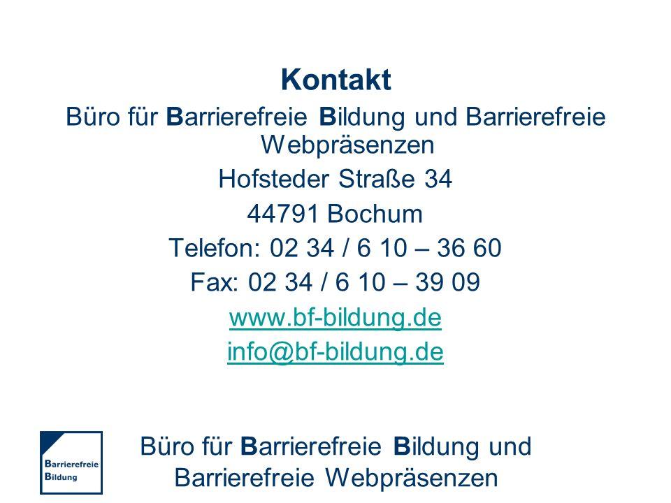 Kontakt Büro für Barrierefreie Bildung und Barrierefreie Webpräsenzen