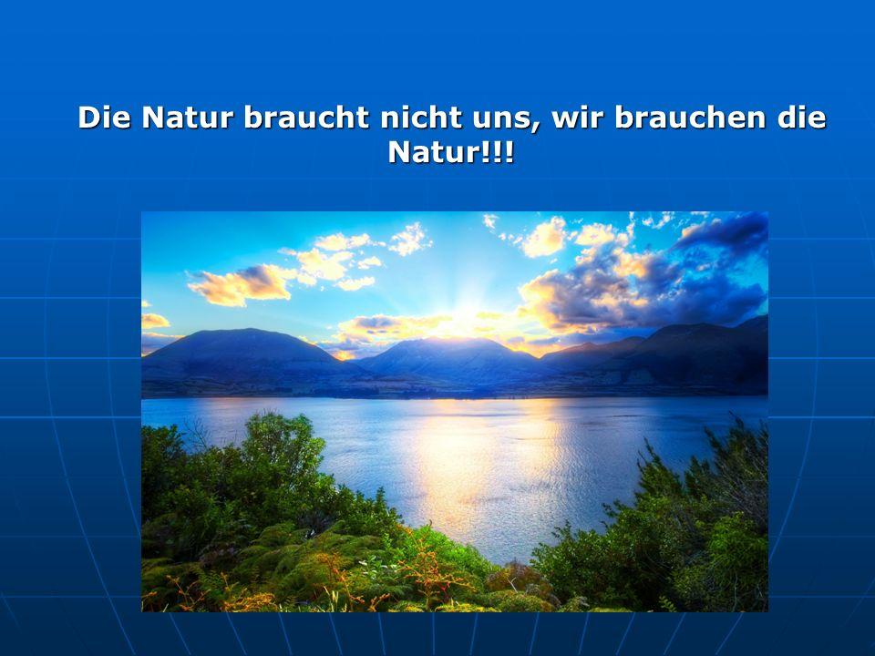 Die Natur braucht nicht uns, wir brauchen die Natur!!!