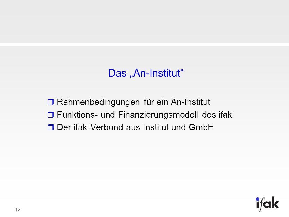 """Das """"An-Institut Rahmenbedingungen für ein An-Institut"""