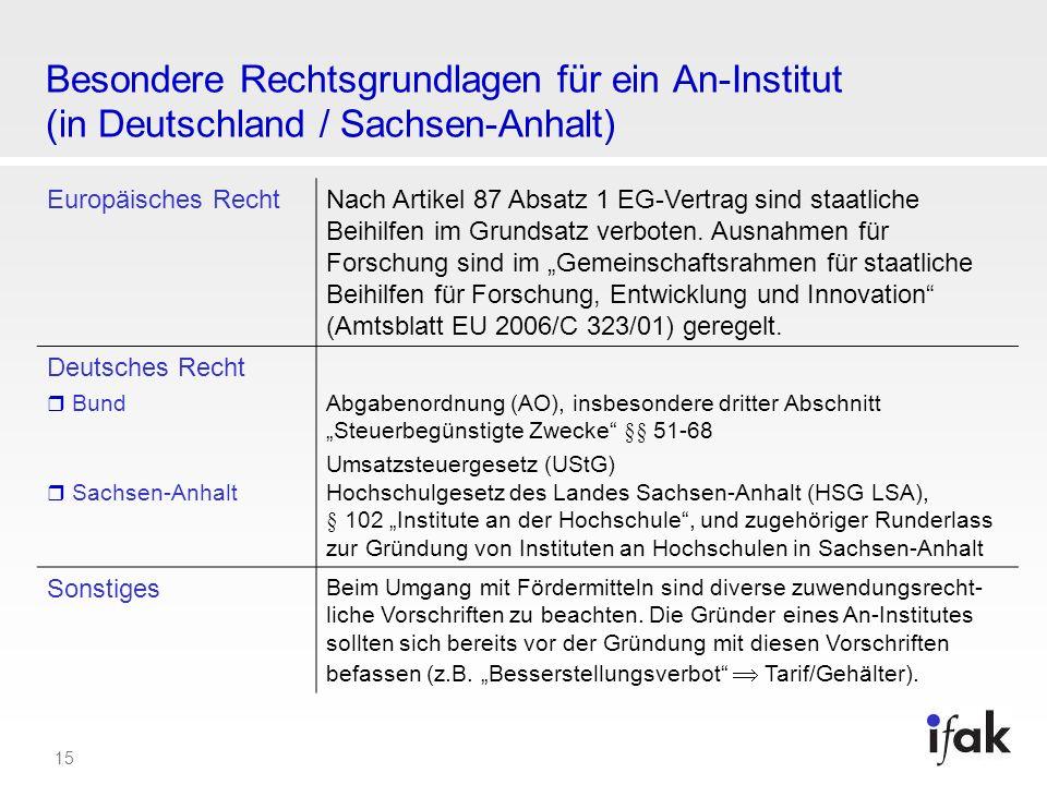 Besondere Rechtsgrundlagen für ein An-Institut (in Deutschland / Sachsen-Anhalt)