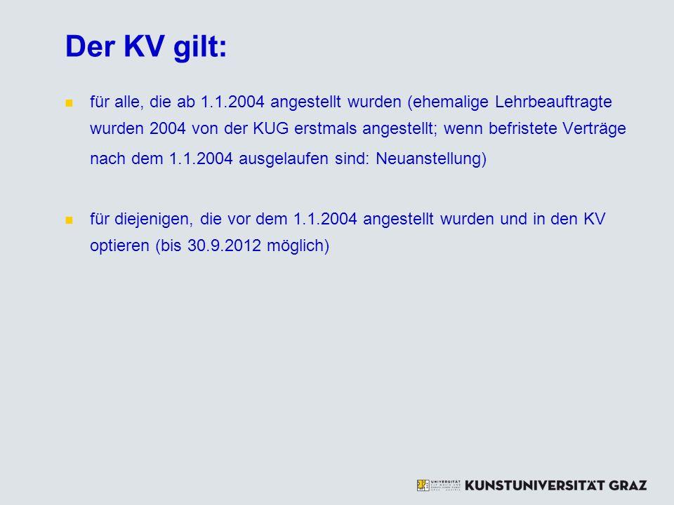 Der KV gilt: