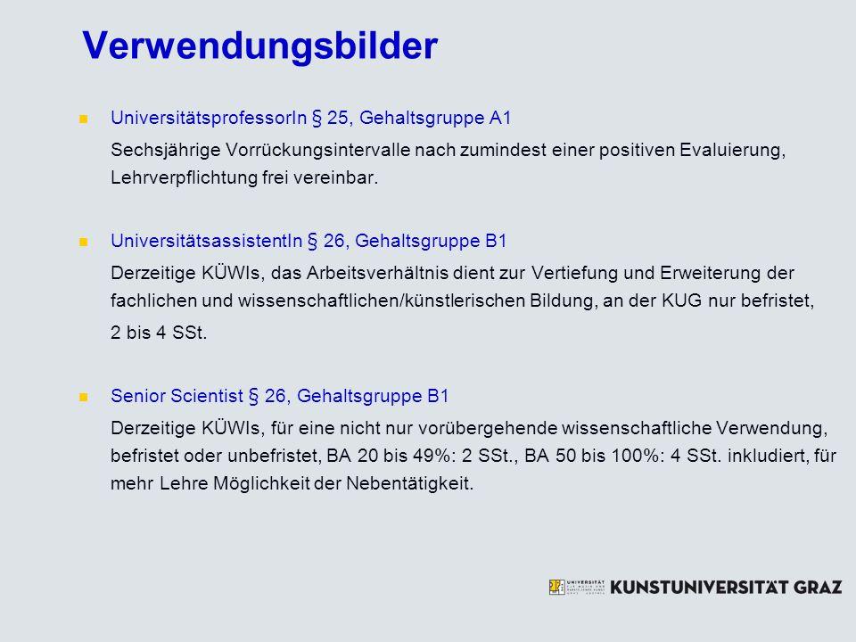 Verwendungsbilder UniversitätsprofessorIn § 25, Gehaltsgruppe A1
