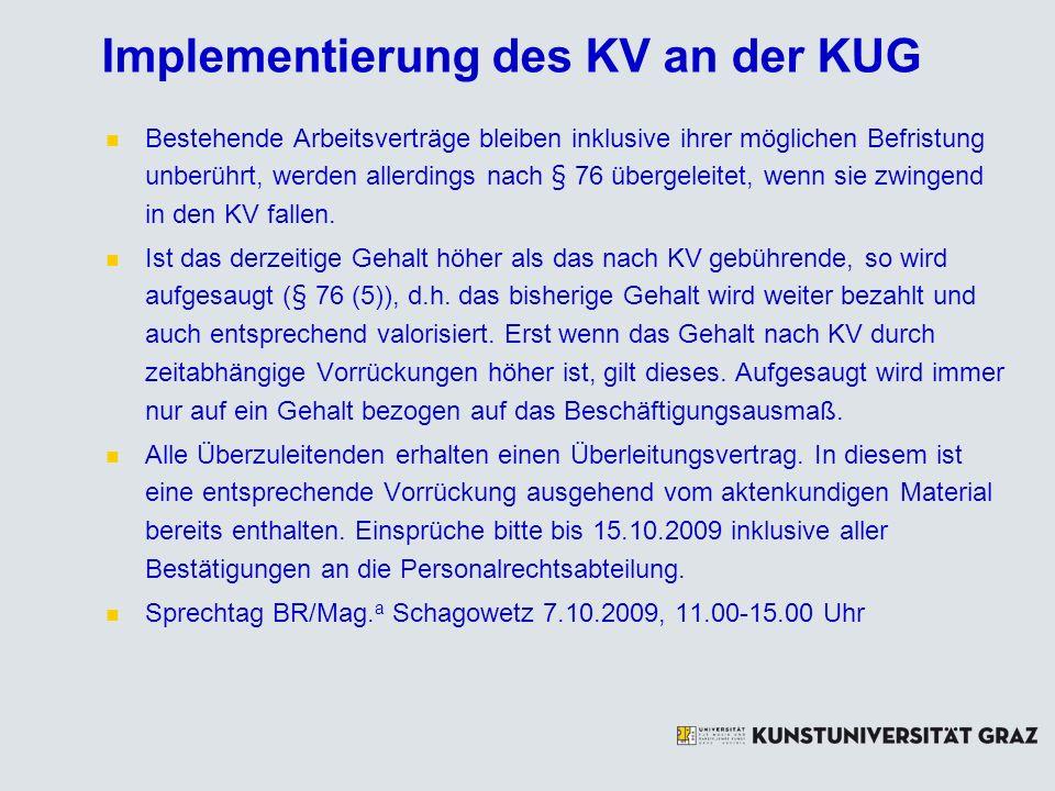 Implementierung des KV an der KUG