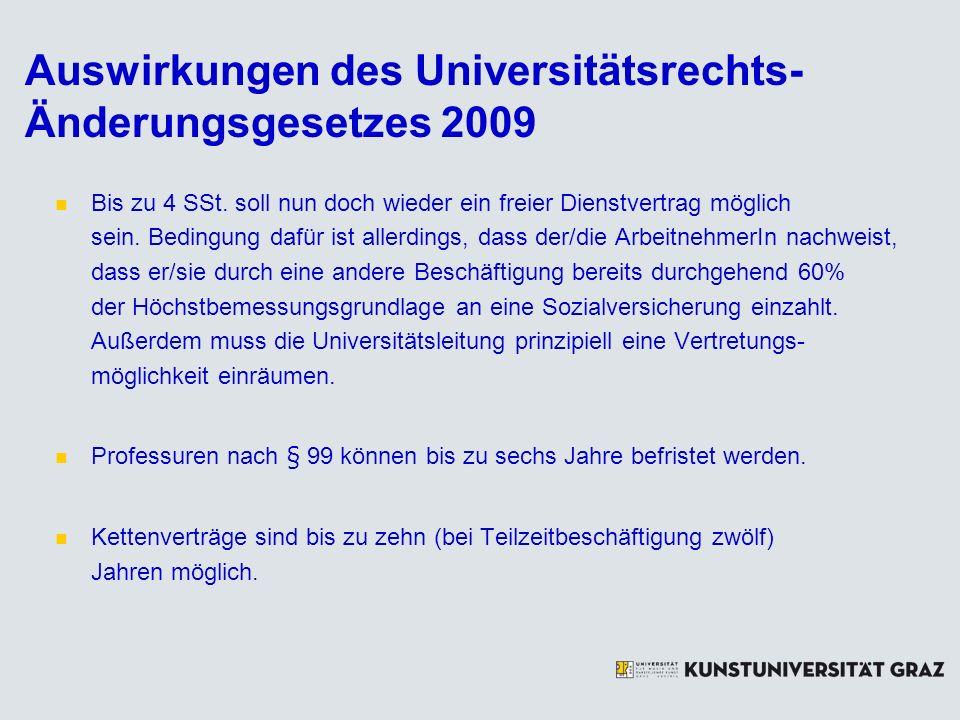 Auswirkungen des Universitätsrechts-Änderungsgesetzes 2009