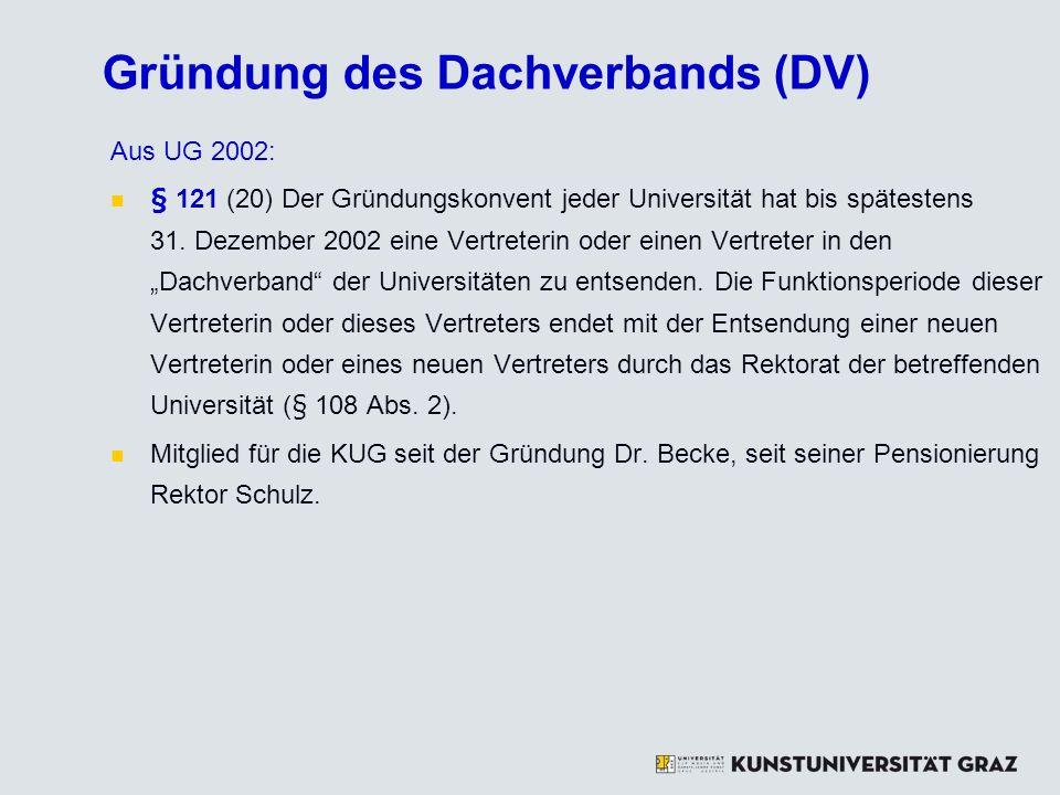 Gründung des Dachverbands (DV)