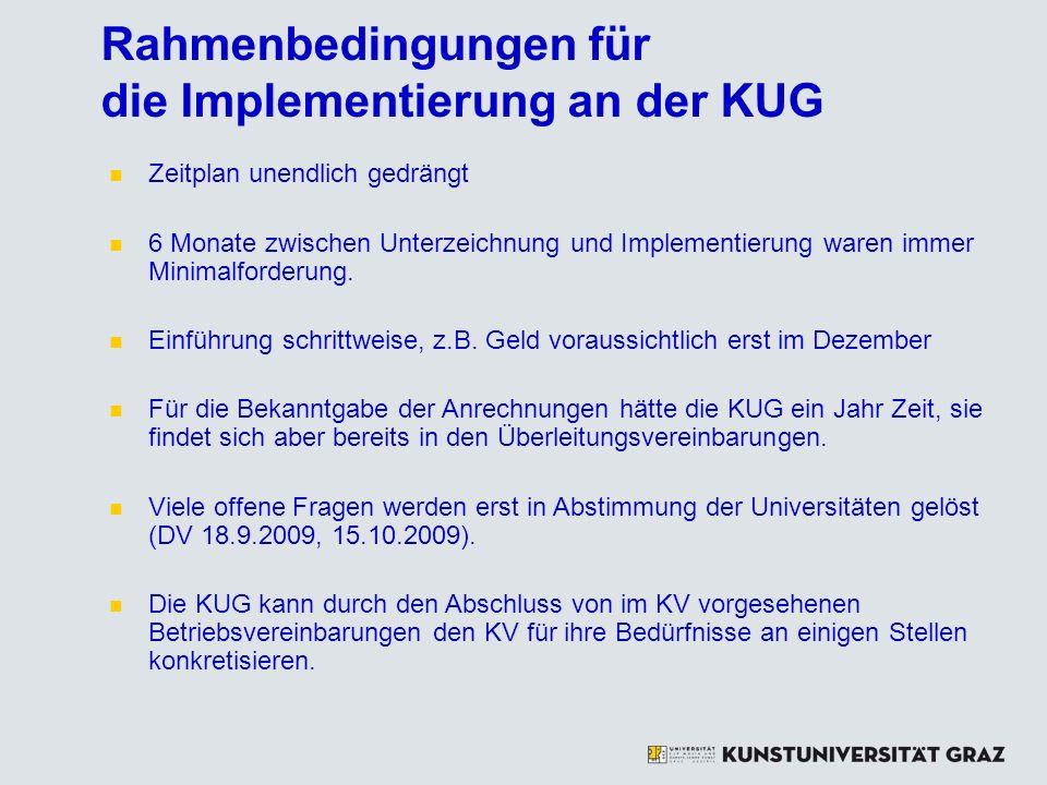 Rahmenbedingungen für die Implementierung an der KUG