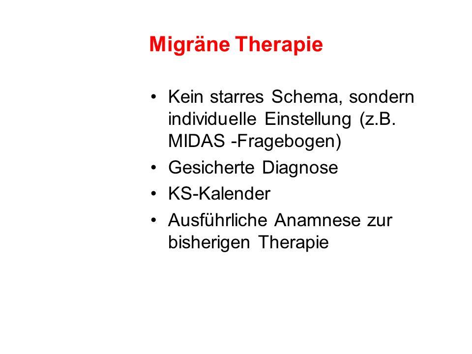 Migräne TherapieKein starres Schema, sondern individuelle Einstellung (z.B. MIDAS -Fragebogen) Gesicherte Diagnose.