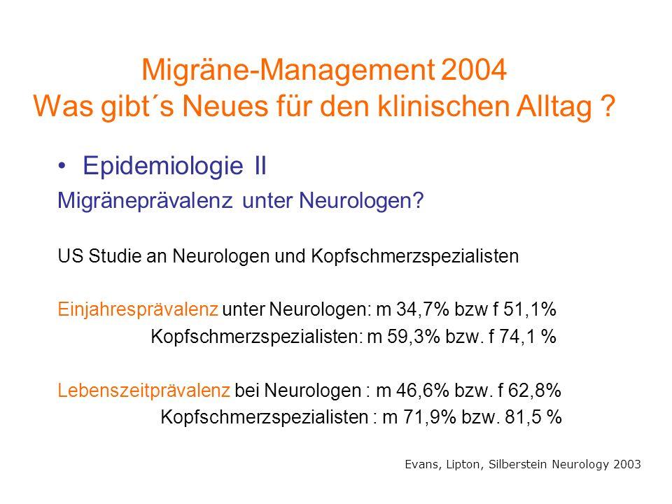 Migräne-Management 2004 Was gibt´s Neues für den klinischen Alltag