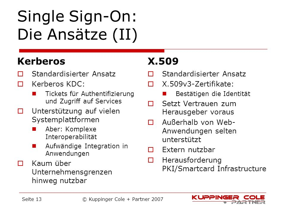 Single Sign-On: Die Ansätze (II)