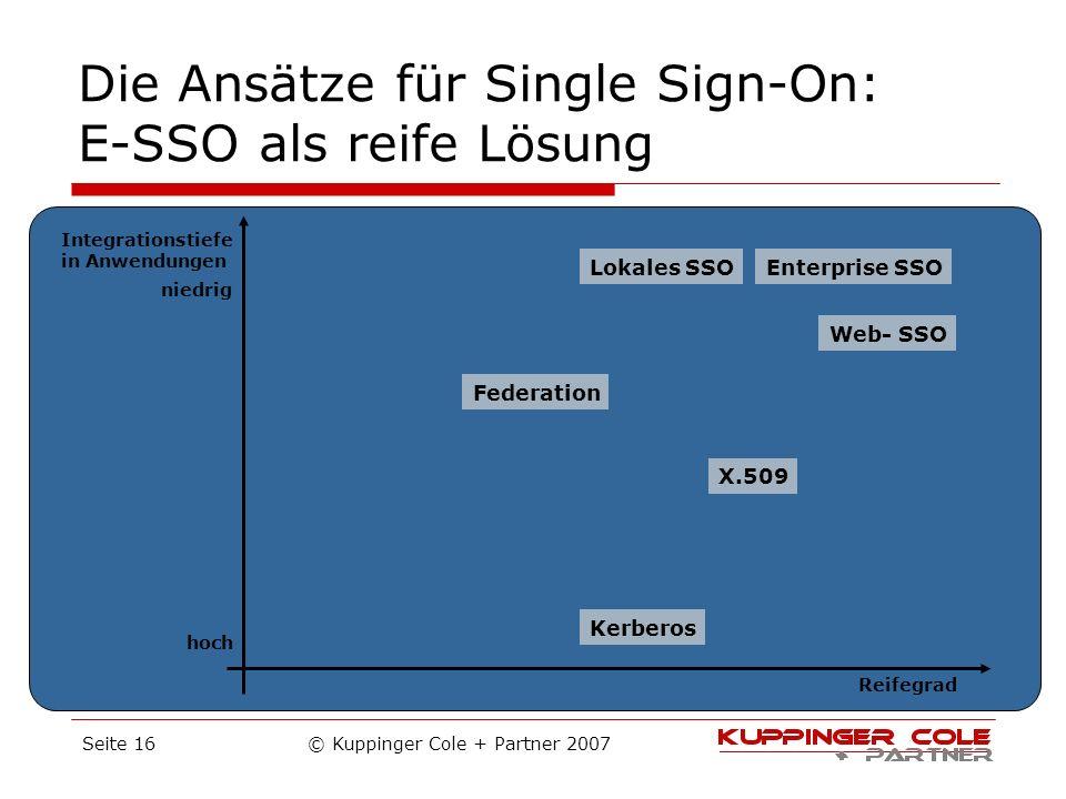 Die Ansätze für Single Sign-On: E-SSO als reife Lösung