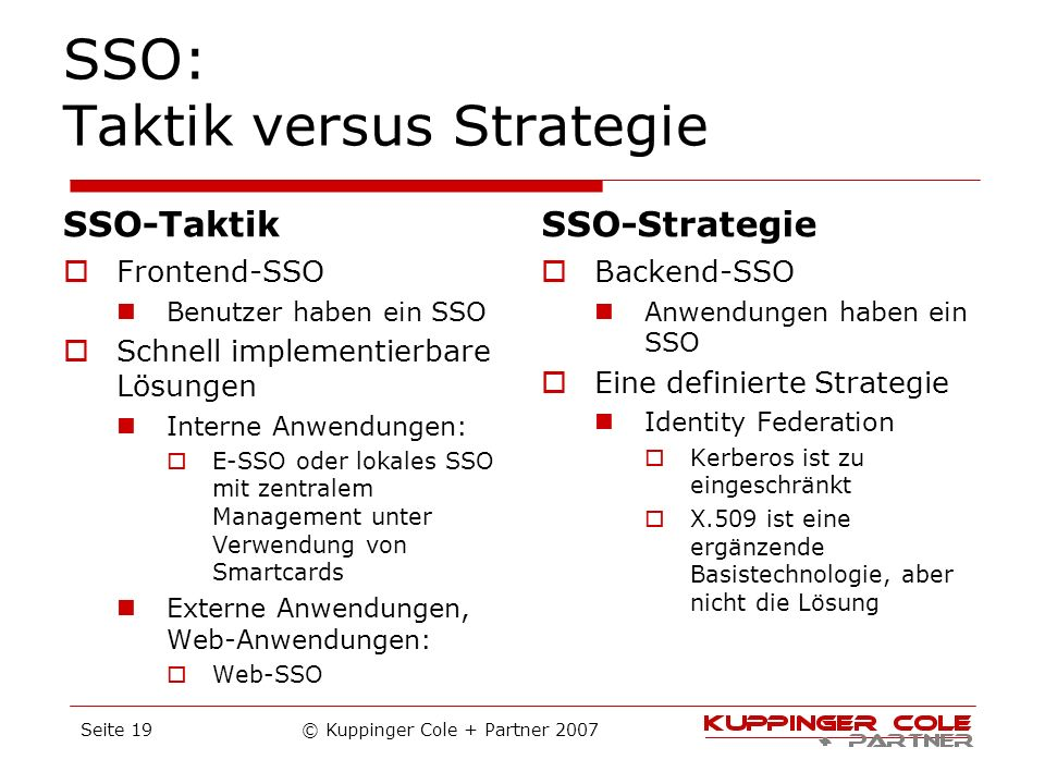 SSO: Taktik versus Strategie