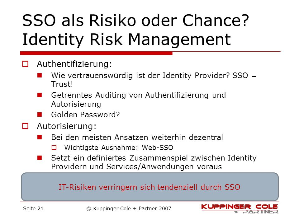 SSO als Risiko oder Chance Identity Risk Management