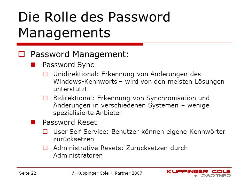 Die Rolle des Password Managements