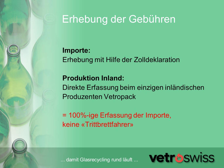 Erhebung der Gebühren Importe: Erhebung mit Hilfe der Zolldeklaration