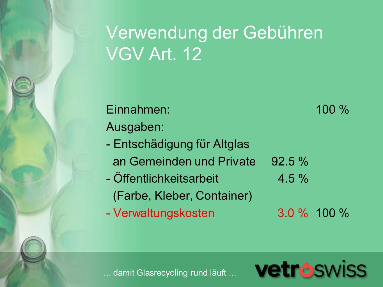 Verwendung der Gebühren VGV Art. 12