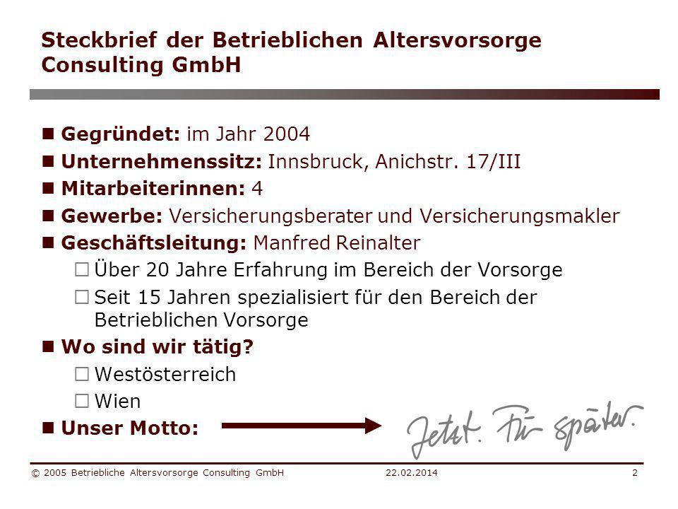 Steckbrief der Betrieblichen Altersvorsorge Consulting GmbH