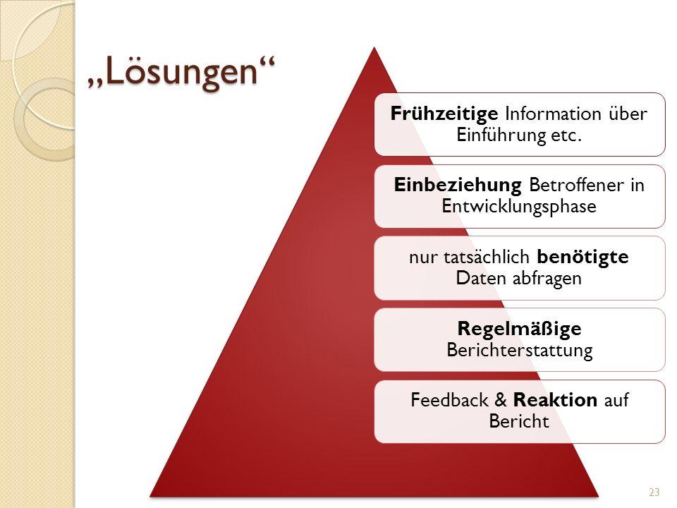 """""""Lösungen Frühzeitige Information über Einführung etc."""