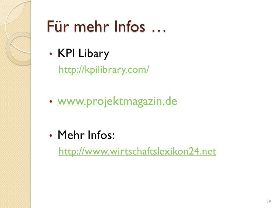 Für mehr Infos … KPI Libary www.projektmagazin.de Mehr Infos: